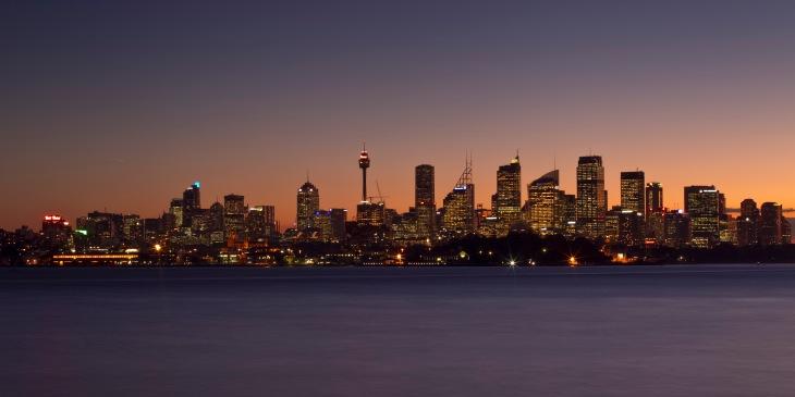 Sydney Skyline from Bradley's Head at Sunset