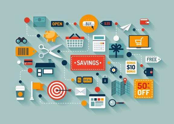 savings_retail_marketing_coupon_business_flat_illustration_vector_design_icons_business_concept_shopping_sales_store_finance_abstract_background